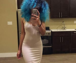 blue, curls, and dress image