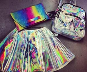 skirt, holographic, and bag image