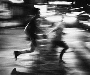 couple, run, and black and white image
