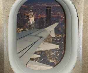 airplane, new york, and travel image