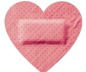 band aid, heart, and injured image
