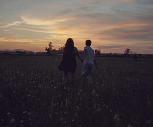 couple, sunset, and beautiful image