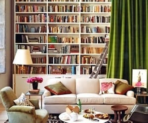 book, bookshelf, and living room image