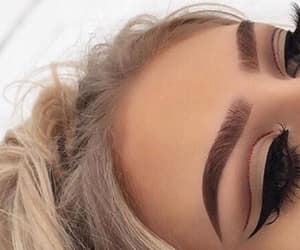 makeup, eyebrows, and blonde image