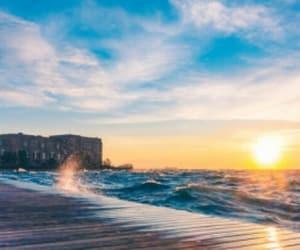Greece, sea, and sunrise image