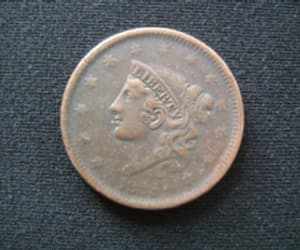 large cent, penny coin, and cornet head cent image