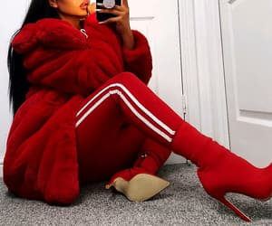 red leggings, red ankle booties, and long straight black hair image