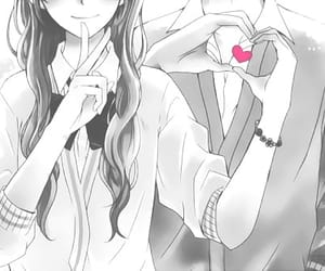 anime, couple, and heart image