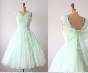 vintage style dress, mint prom dress, and mint green color dress image