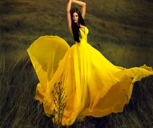 yellow, dress, and fashion image