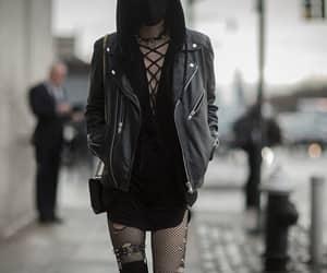 fashion, black, and fishnet image