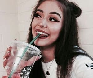 girl, starbucks, and makeup image