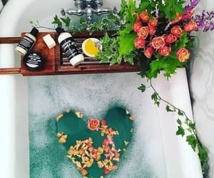 bath, flowers, and green image