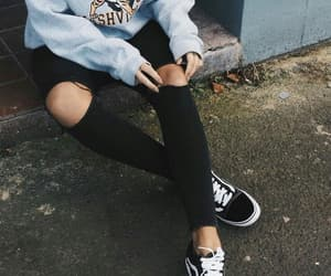 girl, vans, and black image