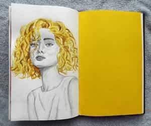 girl, yellow, and drawing image