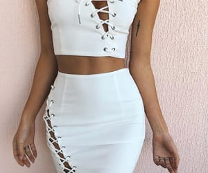 fashion, white, and two piece image