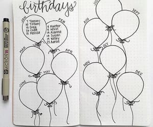 bullet journal, birthday, and balloons image