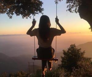 girl, beautiful, and sky image