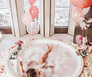bath, balloons, and pink image