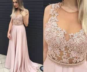 pink prom dress, a line evening dresses, and pears long prom dress image