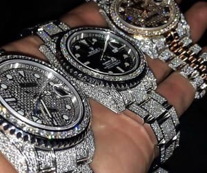diamonds, rolex, and watch image