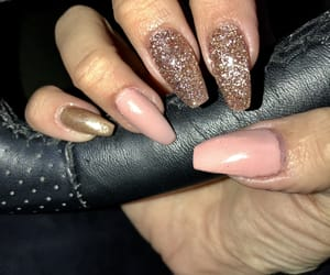 gold, nails, and Nude image