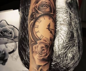 clock, rose, and tattoo image