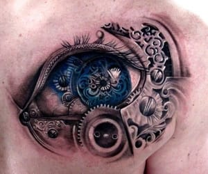 blue, tattoo, and eye image