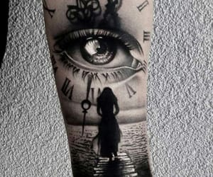 eye, tattoo, and time image