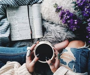 books, coffee, and comfy image