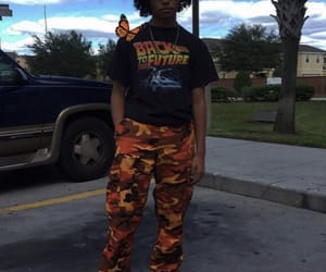 Back to the Future, camo pants, and black image