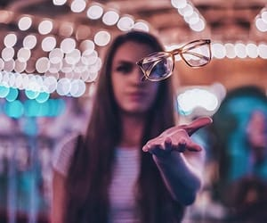 girl, glasses, and light image
