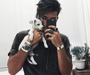 boy, puppy, and guy image