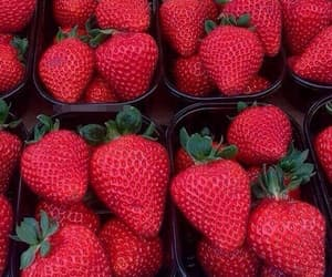 red, strawberry, and food image
