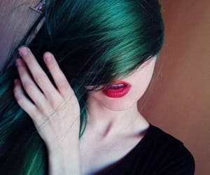 colored hair, green, and dark image