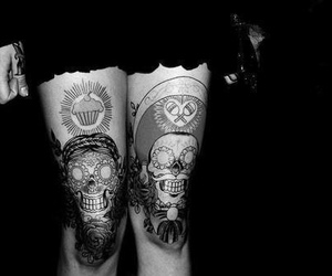 tattoo, black and white, and legs image