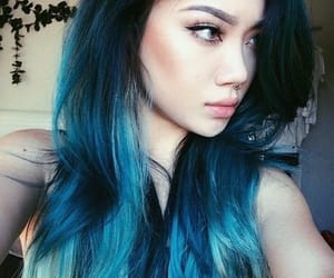 black, blue, and colored hair image