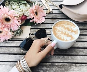 accessories, coffee, and flowers image