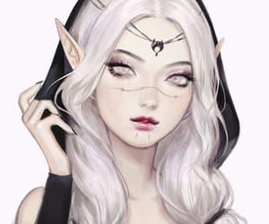 anime, white hair, and art image