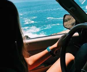 beach, car, and fun image