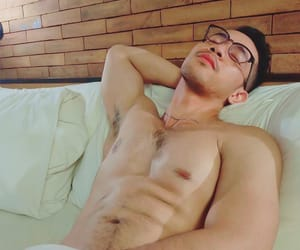 abs, glasses, and sleepy image