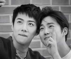 black and white, lq, and sehun image