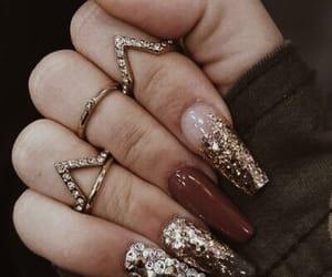 girl, gold, and nails image