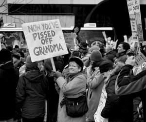 grandma, black and white, and sign image