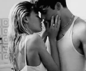 black and white, hot kiss, and couple kiss image