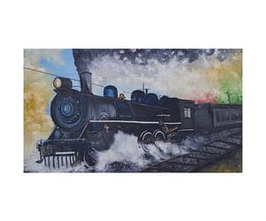paintings and steam train painting image