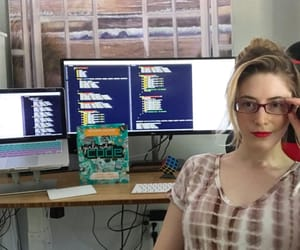 programmer, desk, and glasses image