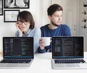 coffee, cute couple, and desk image