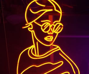 girl, neon, and yellow image