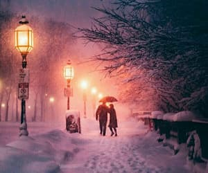 couple, romantic, and snow image